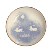 Four Pieces of Japanese 9.5cm Diameter Moon Rabbit Sushi Soy Sauce Wasabi Dipping Dish Plates