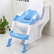 CALISTOUK Portable and Durable Children Potty Seat With Ladder Kids Toilet Folding Potty Chair Training,Blue