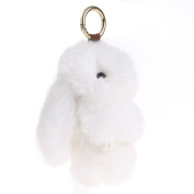 Usdepant Mini Hanging Faux Fur Bunny Rabbit Hand Puppet Animal Toys with Keychain for Bag Car Decor
