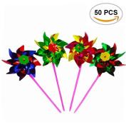 50PCS TKOnline Paradise Party Pinwheels, Amazing Party, Beach and Backyard Pinwheels, Multi Bright Colours.