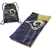 NFL Los Angeles Rams Drawstring Carry Bag with Sleeping Sack Slumber Set