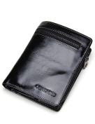 Contacts Genuine Leather Credit Card Holder Coin Pocket Clutch Purse Short Wallet Black