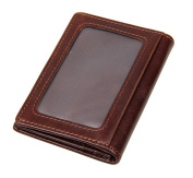 JJNUSA Genuine Leather Card Case Credit Fashion Card Holder Wallet brown