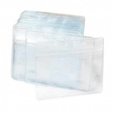Tinksky Pack of 100 Waterproof Plastic Name Tag Badge ID Card Holders (Clear)