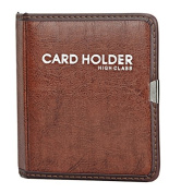 Gullor PU Leather Business Journal Name Card Holder Book for 80 cards, Red Brown