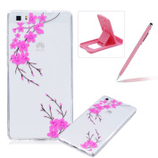 For Huawei P8 Lite 2015 [Perfect-Fit] Clear Case,For Huawei P8 Lite 2015 TPU Silicone Soft Gel Bumper Case Cover,Herzzer Fashion Stylish Ultra Slim [Colourful Printed] Full Protection Bumper Scratchproof Flexible Rubber Jelly Protective Back Cover Case ..