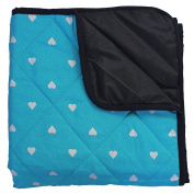 Baby Play Mat with Waterproof Backing - Aqua Heart
