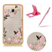 For Samsung Galaxy J510 2016 Rubber Case Cover,For Samsung Galaxy J510 2016 Clear Case Rhinestone Soft TPU Back Cover With Bling Glitter Design,Herzzer Luxury Elegant (Gold) Electroplate Plating Bumper Frame [Pink Flower Pattern] Crystal Soft Gel Silic ..