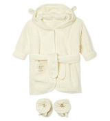 Pure Love Baby Bathrobe & slippers Gift Set - Natural Organic & Pure Cotton