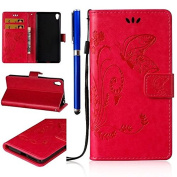 FESELE Sony Xperia E5 Case Sony Xperia E5 Cover Butterfly Flower Pattern Painted PU Leather Case Book Style Magnetic Closure PU Leather Wallet Elegant Classic Flip Cover Case Card Slot and Banknotes Pocket with Hand Strap For Sony Xperia E5 + 1 x Blue ..