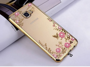 FESELE Samsung Galaxy A7(2017) Glitter Case Samsung A7(2017) Silicone Case Samsung A7 2017 Case for Girls Samsung A7(2017) TPU Silicone Case Cover with Electroplate Frame Pretty Flower Print Bling Crystal Rhinestone Diamonds Transparent Soft TPU Case f ..