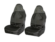 XtremeAuto® Universal Waterproof Black High Back, Front Car Seat Protector Covers With Chequered Flag Logo