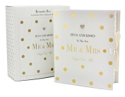 'Hugs and Kisses to the New Mr and Mrs' Keepsake Gift Box. Embellished with a diamante heart. Large 33 x 17 x 33cm