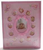 "FaCraft Baby Girls Pink Slip in Photo Album 200 15cm x 10cm and 20 15cm x 20cm Photos ""My First Year"" with Gift Storage Box"