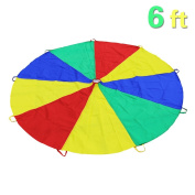 Everfunny Play Parachute, Children 210T Rainbow Play Parachute 1.8m with 8 Handles for 3-8 Kids Play Games