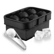 BeePole Ice Ball and Square Cubes Maker Moulds - Black Flexible Silicone Ice Tray Combo (Set of 2) - 6 Slots for Each Mould with 1 Stainless Steel Ice Cubes Clip