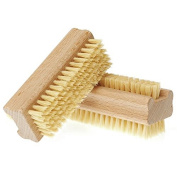 Hrph Wooden Double Sided Handle Nylon Bristle Manicure Pedicure Scrubbing Nail Bath Brush