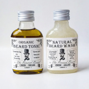 Organic Conditioning Beard Oil and Natural Beard Shampoo Set, Non-Greasy & Low Odour, Beard Tonic and Extra Mild Beard Wash by Revered Beard London
