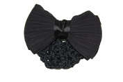 GIZZY® Ladies, Girls Black Chiffon and Satin Double Bow Barette Hair Slide with Bun Net.
