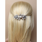 6607 9cm Glass crystal flower & leaf barrette hair clip Wedding Bride Races Prom
