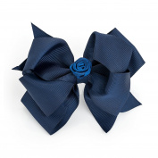 Large (12 cm) Navy Blue Grosgrain Hair Bow with Central Flower Detail on Clip