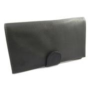 Leather chequebook holder 'Frandi' black dark grey.