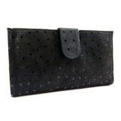 Wallet + chequebook holder leather 'Frandi' black (peas).