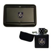 Matte black Masonic G tobacco tin and stormproof petrol lighter