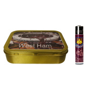 West Ham United Clipper lighter and Olympic Stadium 60ml tobacco tin
