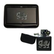 Matte black Welsh dragon tobacco tin and stormproof petrol lighter