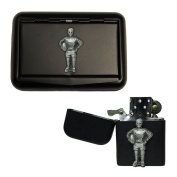 Matte black rugby tobacco tin and stormproof petrol lighter