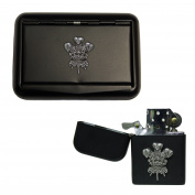 Matte black Welsh feathers tobacco tin and stormproof petrol lighter