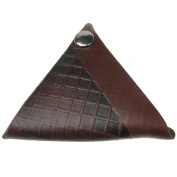 Brown (Checker Pattern) Press Stud Double Sided Coin Purse 100% Leather Wallet
