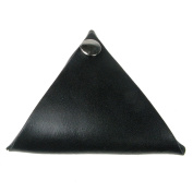 Black Leather UK Handmade Triangle Wallet Coin Purse Press Stud Double Sided