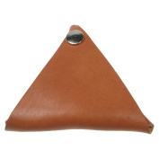 Tan Handmade Triangular 100% Leather Coin Wallet Purse Double Sided Wallet