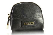 FERETI Genuine Leather dark brown small Coin Purse with zipper purse ...