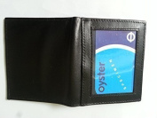 Real Soft Leather Oyster ID Card Pass Holder Wallet Soft Leather Black With Window Slim