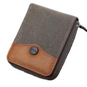 GGTFA Men's Jean Cloth Canvas Short Pocket Wallet Bifold Card Case Cash Holder Purse