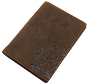 Buffalo full leather ID card holder with wild boar-motif in brown