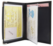 ID and credit card holder with metal protection corners in 2 different designs in black