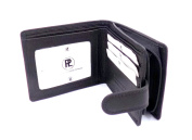 MENS SOFT BLACK SMOOTH LEATHER CREDIT CARD WALLET WITH ZIP COIN POCKET & ID WINDOW