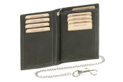 """ID Card Holder and Credit Card Holder with chrome chain Biker card and ID holder vertical format Vintage-Style LEAS MCL, Genuine Leather, black - """"LEAS Chain-Series"""""""