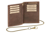 """ID Card Holder and Credit Card Holder with chain Biker card and ID holder LEAS MCL, Genuine Leather, brown - """"LEAS Chain-Series"""""""