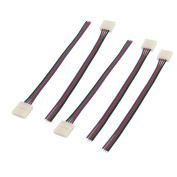 sourcingmap® 5pcs 15cm Long 10mm Width 4 Pin Adapter Wire Connector for 5050 RGB Strip