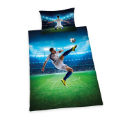 Herding Young Collection Football Bedding Duvet Cover Set, Cotton, grün, 160 x 210 x cm