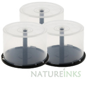 3 x 50 Empty CD DVD Cakebox Storage Tub Plastic Case for DVD CD Bluray Discs Spindle cake box