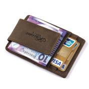 Genuine Leather-Money Clip-Magnet-Front Pocket-Slim Wallet-ID-Card Holder