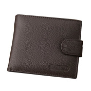 Badiya Fashion Men's Leather Short Paragraph Casual Coins Multi-card Wallet
