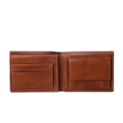 Antica Toscana Mens Wallet Classic model in Real Italian Leather with Coin Pocket / Flip-up & Credit card Slots Terracotta