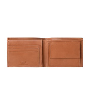 Antica Toscana Mens Wallet Classic model in Real Italian Leather with Coin Pocket / Flip-up & Credit card Slots Honey